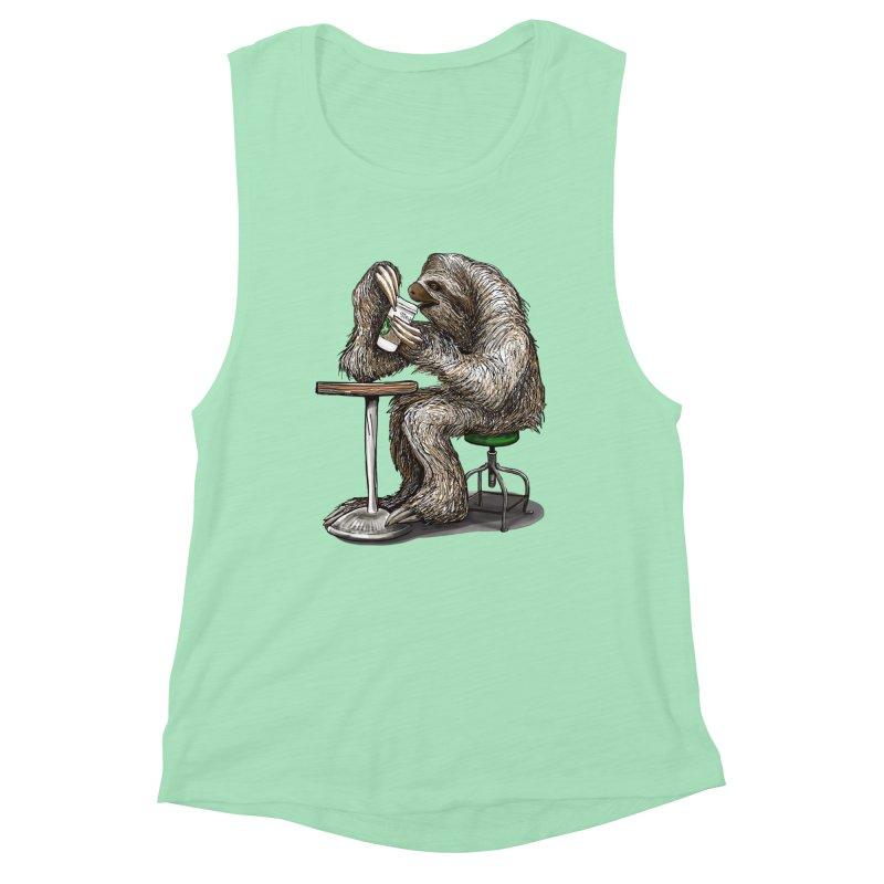 Steve the Sloth on his Coffee Break Women's Tank by dotsofpaint threads