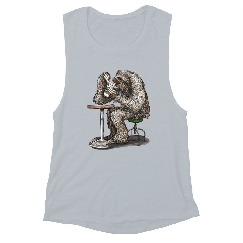 Steve the Sloth on his Coffee Break Women's Tank by dotsofpaint threads