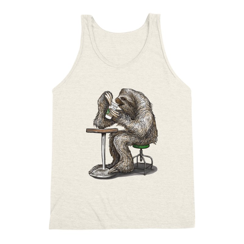 Steve the Sloth on his Coffee Break Men's Triblend Tank by dotsofpaint threads