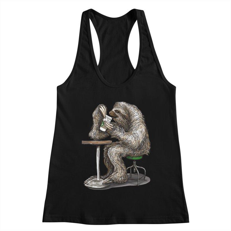 Steve the Sloth on his Coffee Break Women's Racerback Tank by dotsofpaint threads