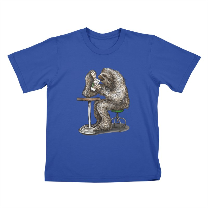 Steve the Sloth on his Coffee Break Kids T-Shirt by dotsofpaint threads