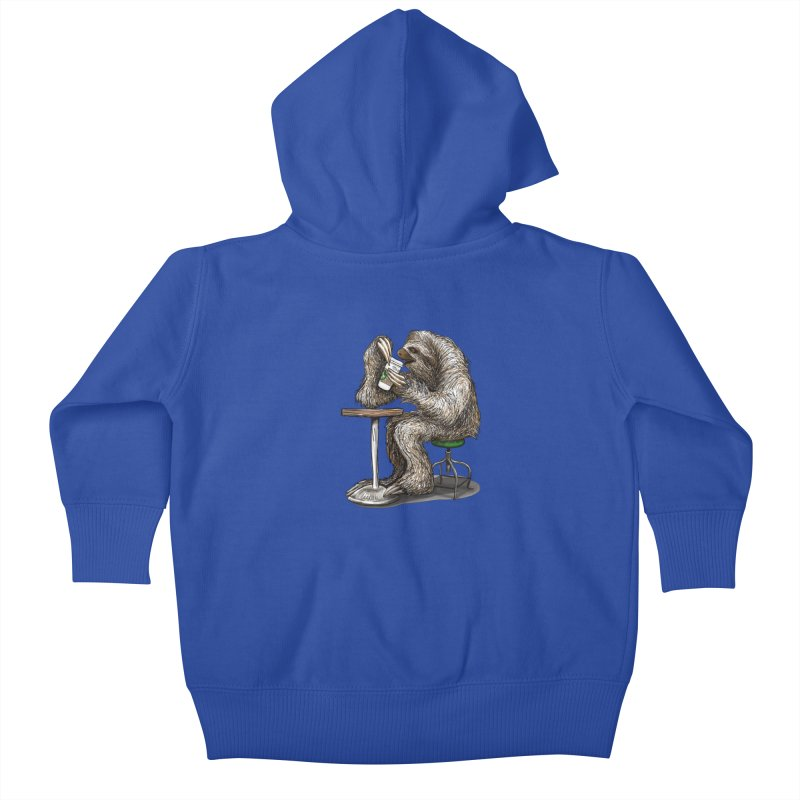 Steve the Sloth on his Coffee Break Kids Baby Zip-Up Hoody by dotsofpaint threads