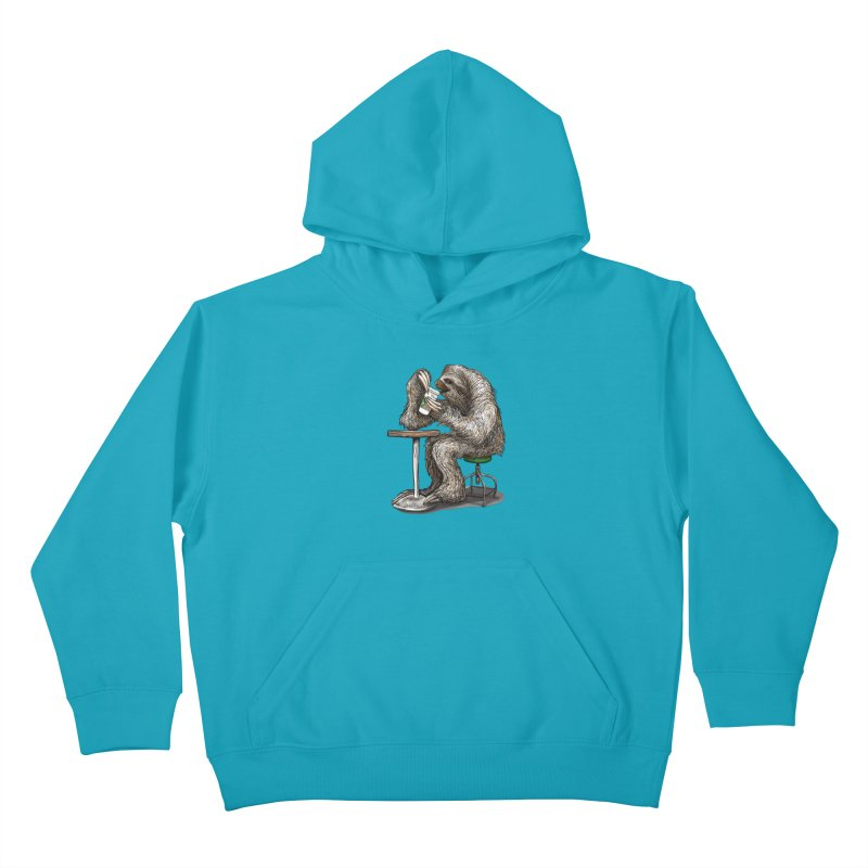 Steve the Sloth on his Coffee Break Kids Pullover Hoody by dotsofpaint threads