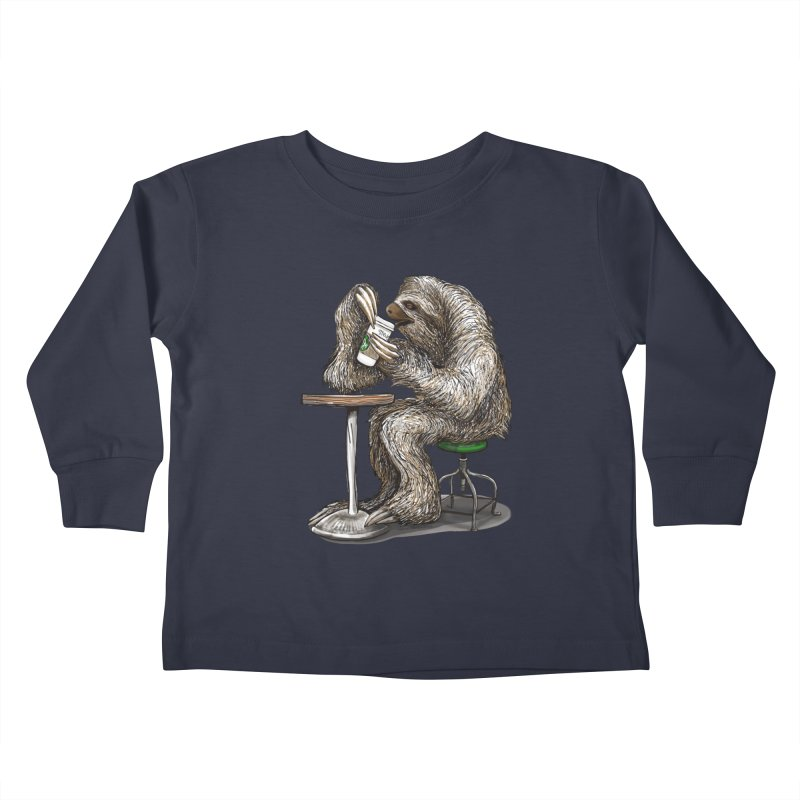 Steve the Sloth on his Coffee Break Kids Toddler Longsleeve T-Shirt by dotsofpaint threads