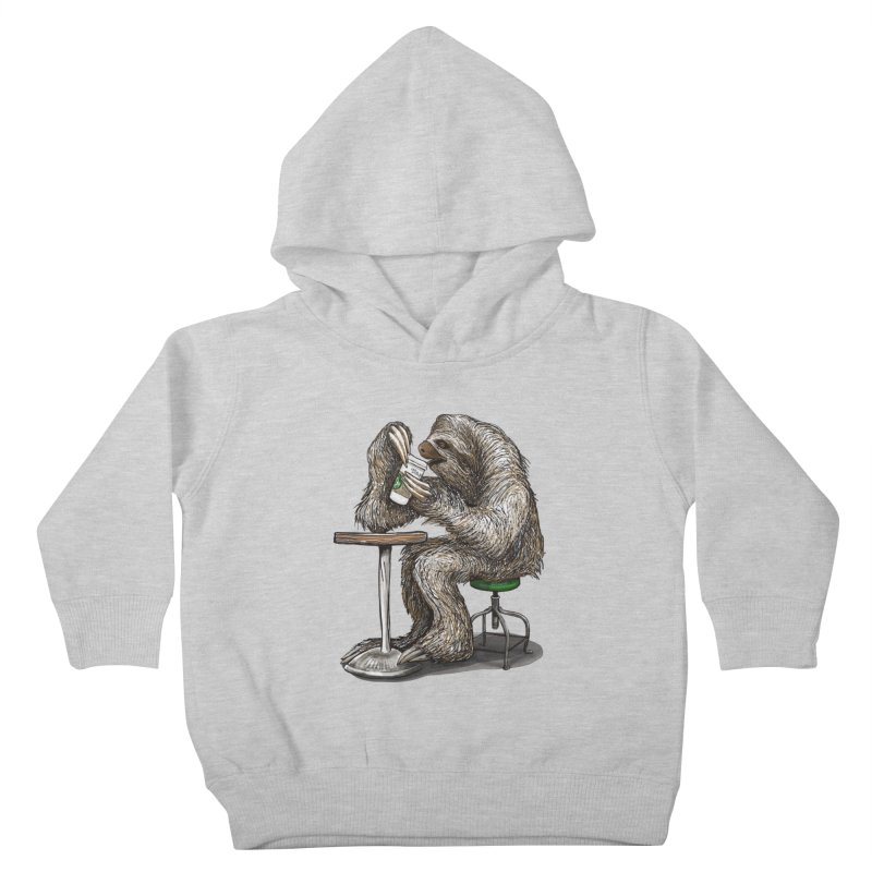 Steve the Sloth on his Coffee Break Kids Toddler Pullover Hoody by dotsofpaint threads