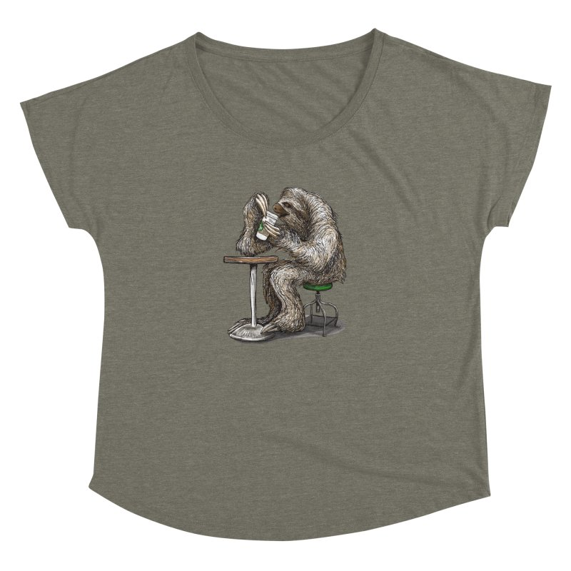 Steve the Sloth on his Coffee Break Women's Dolman Scoop Neck by dotsofpaint threads