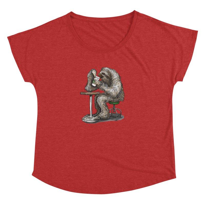 Steve the Sloth on his Coffee Break Women's Dolman Scoop Neck by dotsofpaint threads