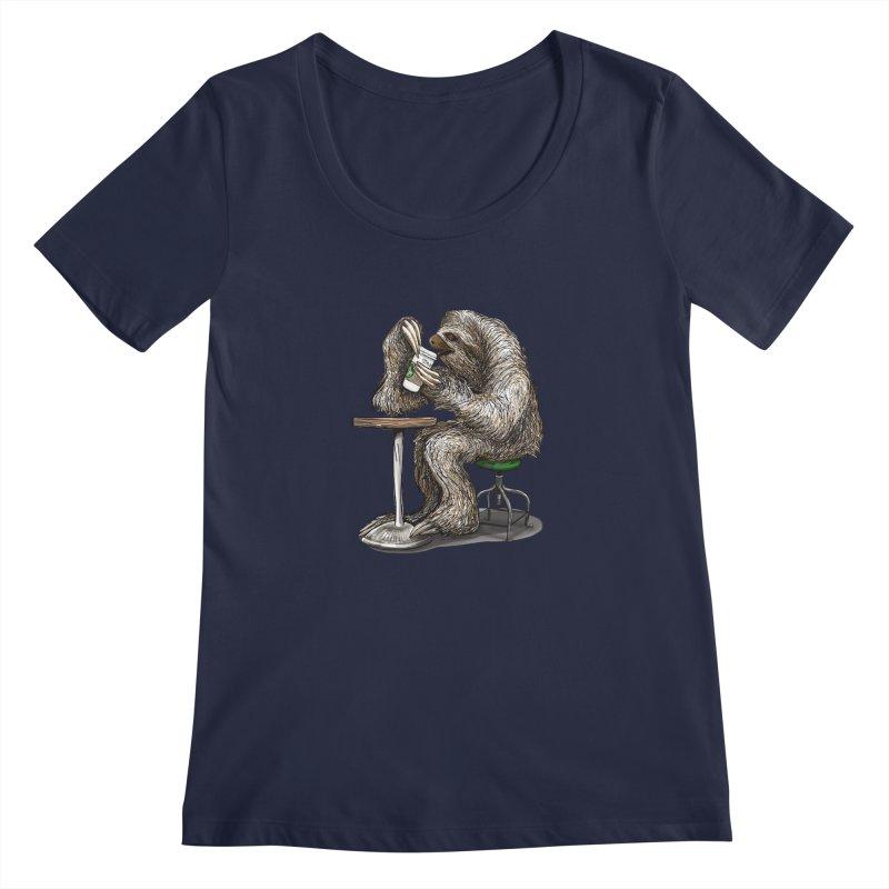 Steve the Sloth on his Coffee Break Women's Regular Scoop Neck by dotsofpaint threads