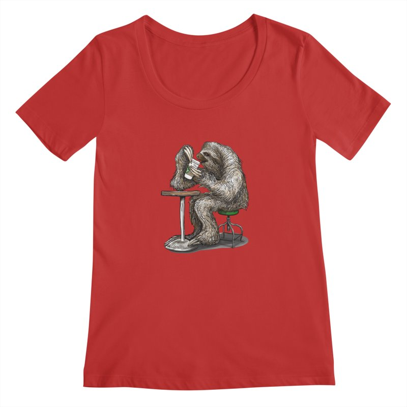 Steve the Sloth on his Coffee Break Women's Regular Scoop Neck by dotsofpaint threads