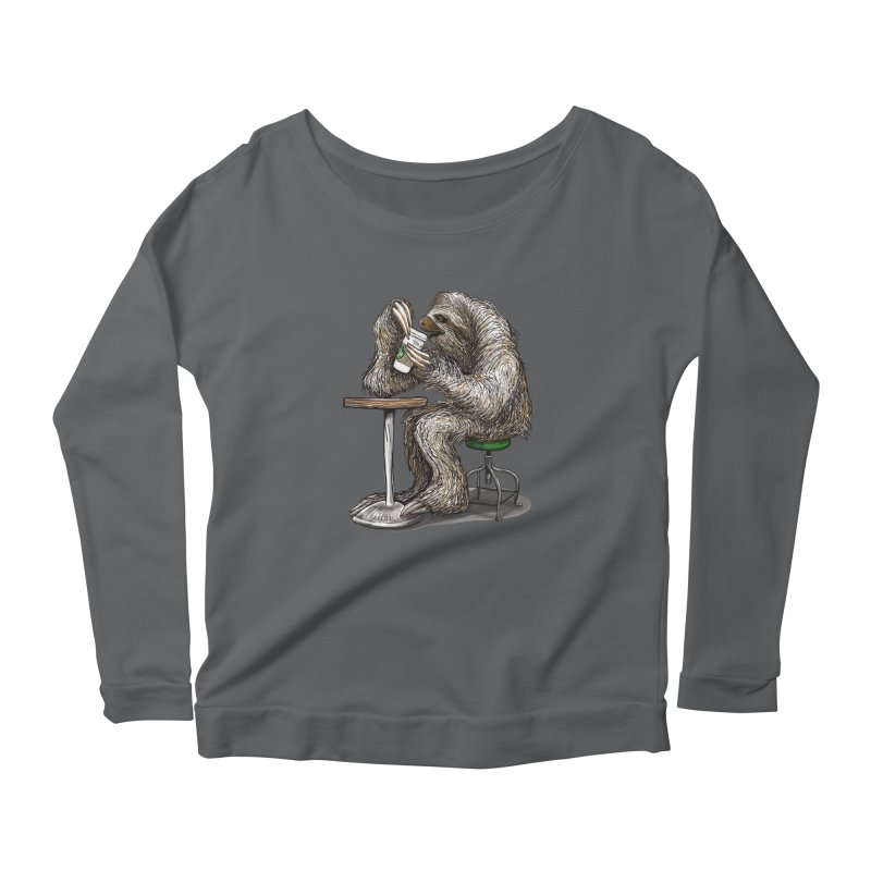 Steve the Sloth on his Coffee Break Women's Scoop Neck Longsleeve T-Shirt by dotsofpaint threads