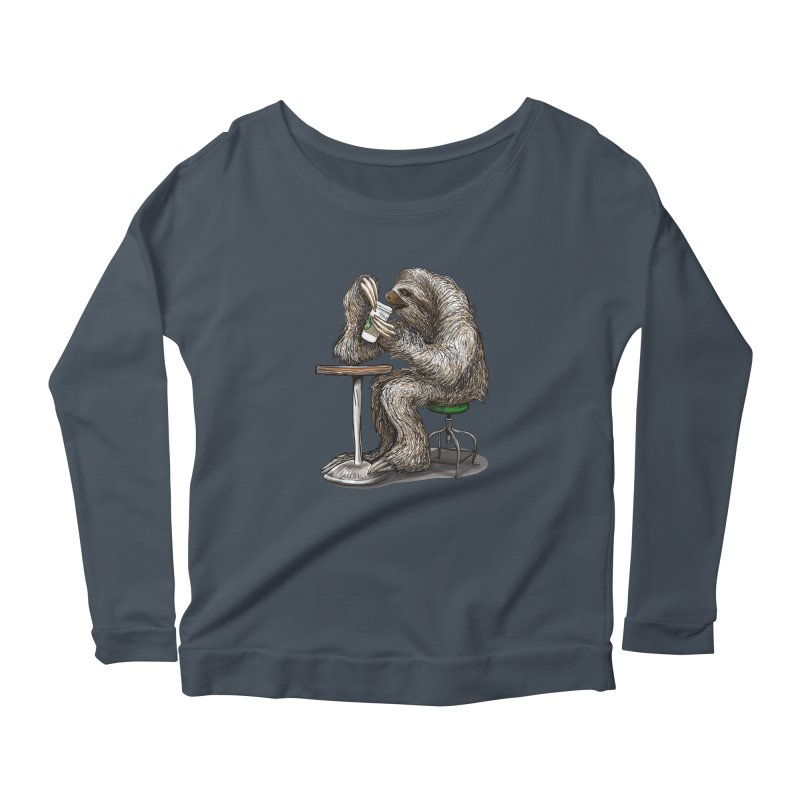Steve the Sloth on his Coffee Break Women's Scoop Neck Longsleeve T-Shirt by dotsofpaint threads