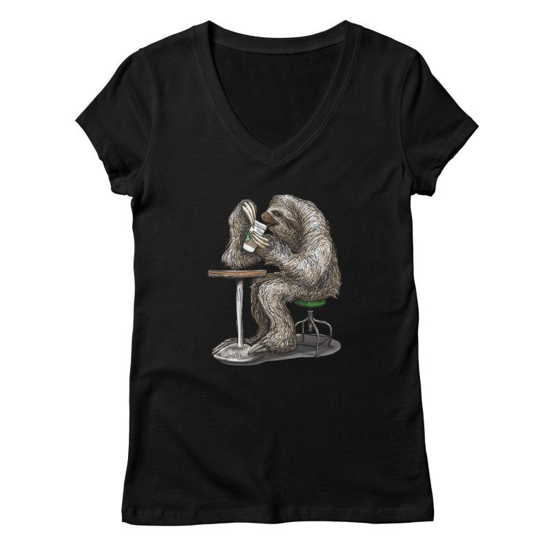 Steve the Sloth on his Coffee Break Women's V-Neck by dotsofpaint threads