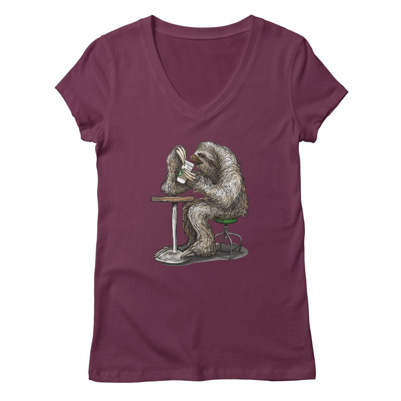 Steve the Sloth on his Coffee Break Women's Regular V-Neck by dotsofpaint threads