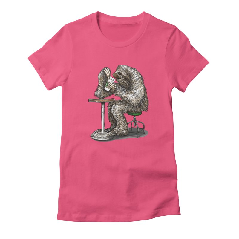 Steve the Sloth on his Coffee Break Women's Fitted T-Shirt by dotsofpaint threads