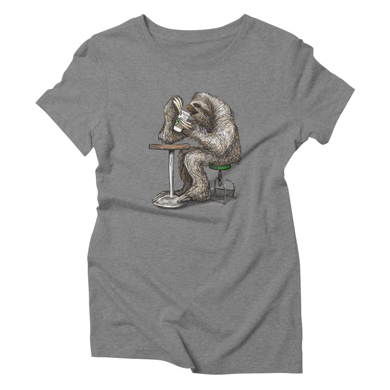 Steve the Sloth on his Coffee Break Women's Triblend T-Shirt by dotsofpaint threads