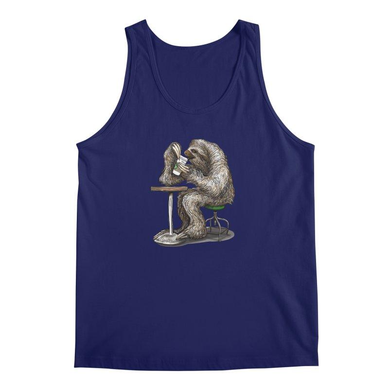 Steve the Sloth on his Coffee Break Men's Regular Tank by dotsofpaint threads