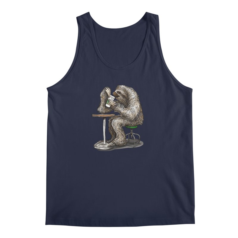 Steve the Sloth on his Coffee Break Men's Regular Tank by dotsofpaint threads
