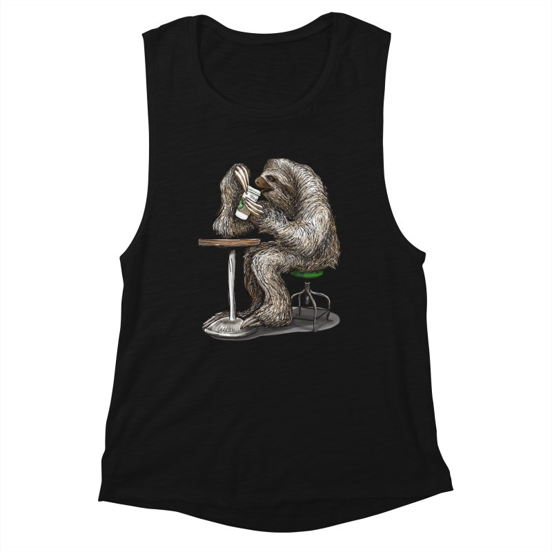 Steve the Sloth on his Coffee Break Women's Muscle Tank by dotsofpaint threads