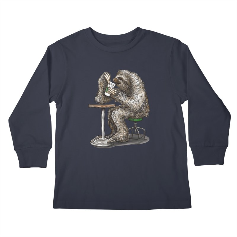 Steve the Sloth on his Coffee Break Kids Longsleeve T-Shirt by dotsofpaint threads