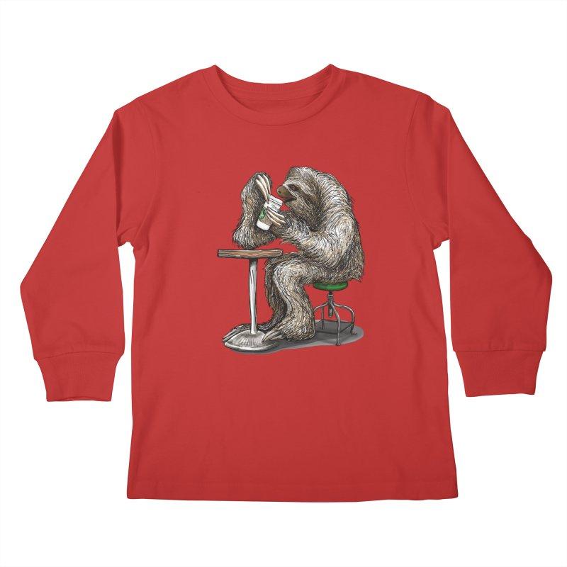 Steve the Sloth on his Coffee Break Kids Longsleeve T-Shirt by dotsofpaint threads