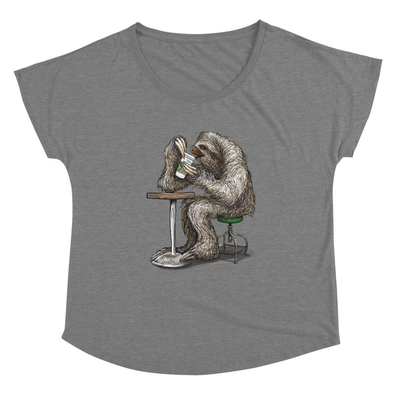 Steve the Sloth on his Coffee Break Women's Scoop Neck by dotsofpaint threads