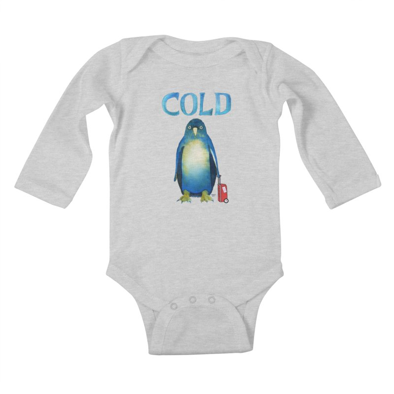 COLD AF PENGUIN Kids Baby Longsleeve Bodysuit by dotsofpaint threads