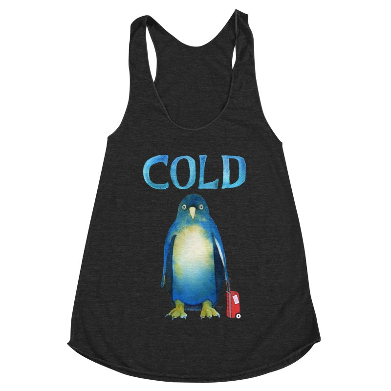 COLD AF PENGUIN Women's Racerback Triblend Tank by dotsofpaint threads