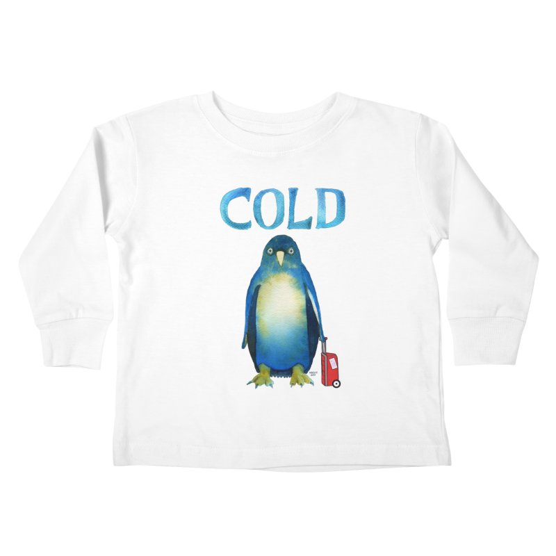 COLD AF PENGUIN Kids Toddler Longsleeve T-Shirt by dotsofpaint threads