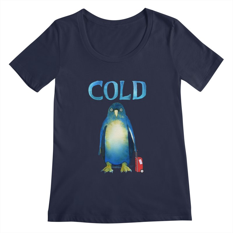 COLD AF PENGUIN Women's Regular Scoop Neck by dotsofpaint threads