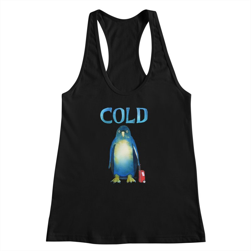 COLD AF PENGUIN Women's Racerback Tank by dotsofpaint threads
