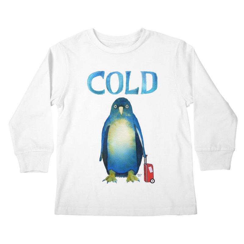 COLD AF PENGUIN Kids Longsleeve T-Shirt by dotsofpaint threads