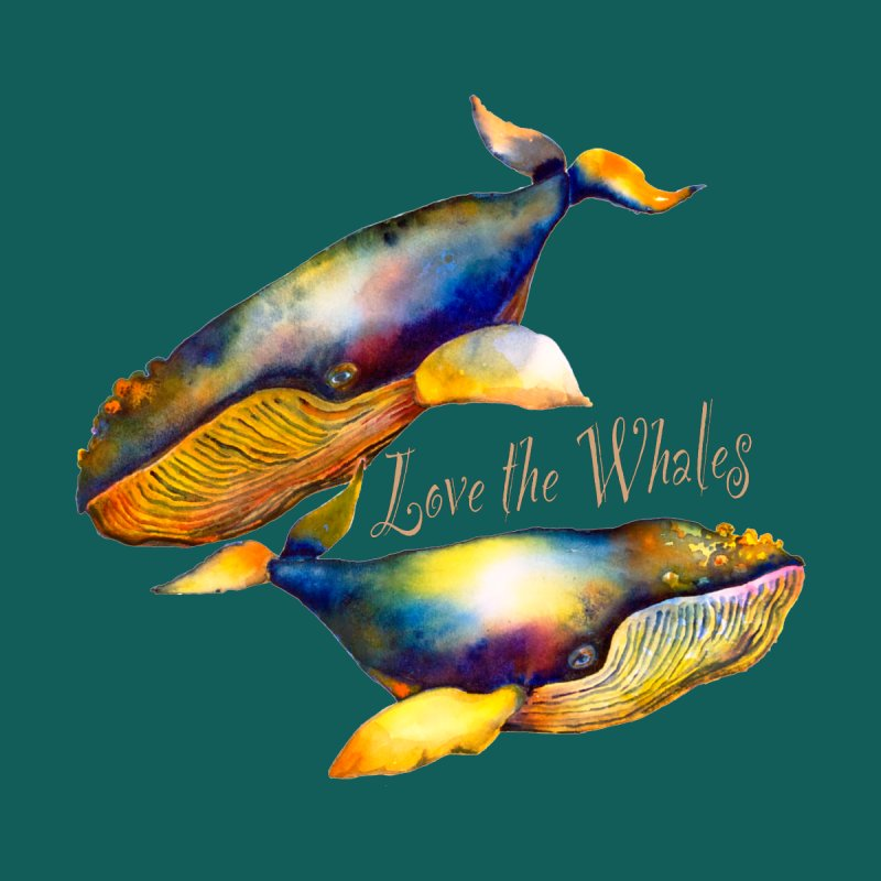 Love the Whales Women's V-Neck by dotsofpaint threads