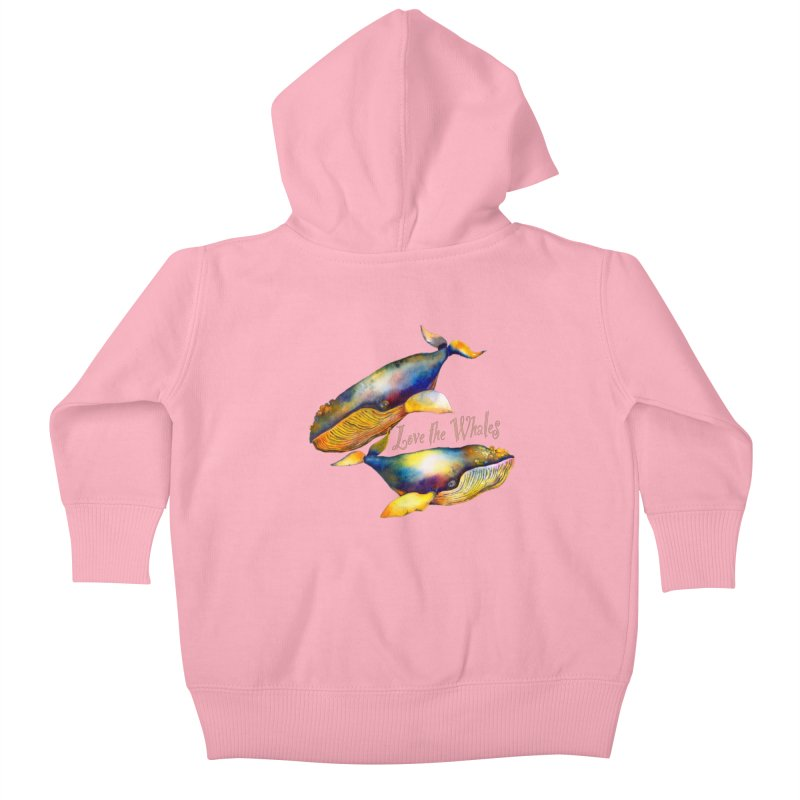 Love the Whales Kids Baby Zip-Up Hoody by dotsofpaint threads