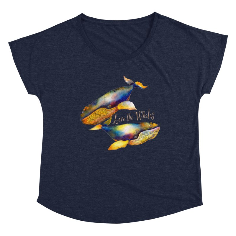 Love the Whales Women's Scoop Neck by dotsofpaint threads