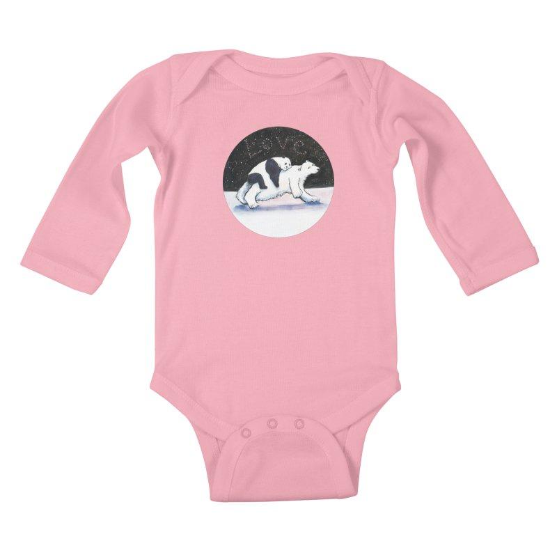 Bear Hugs Kids Baby Longsleeve Bodysuit by dotsofpaint threads