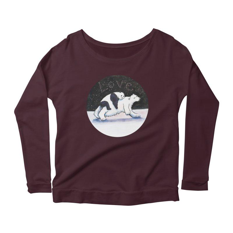 Bear Hugs Women's Scoop Neck Longsleeve T-Shirt by dotsofpaint threads