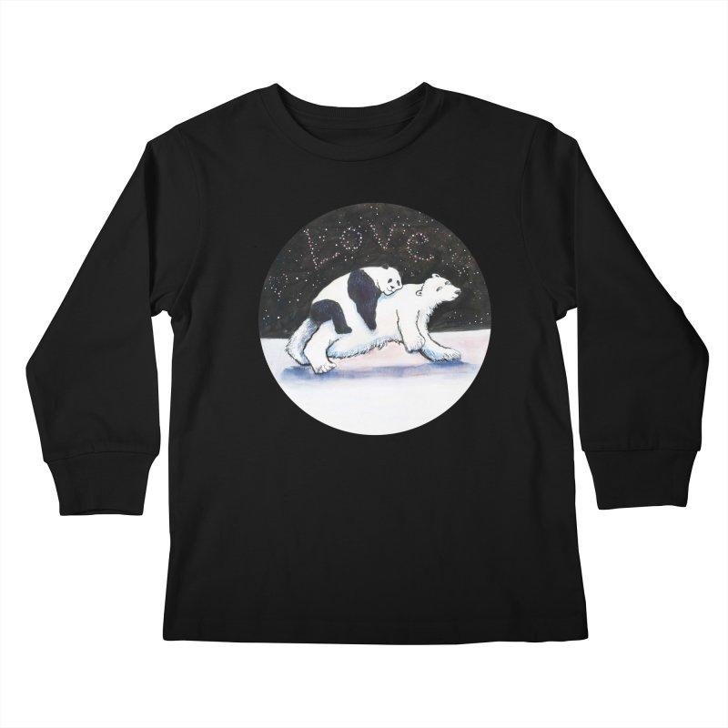 Bear Hugs Kids Longsleeve T-Shirt by dotsofpaint threads