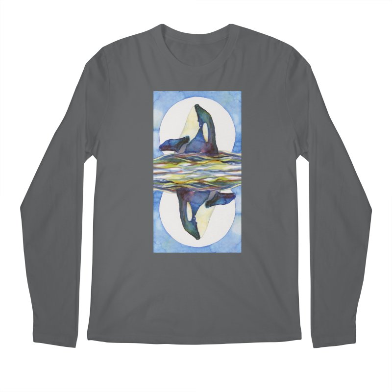 Orca in the Waves Seeing Double Men's Longsleeve T-Shirt by dotsofpaint threads