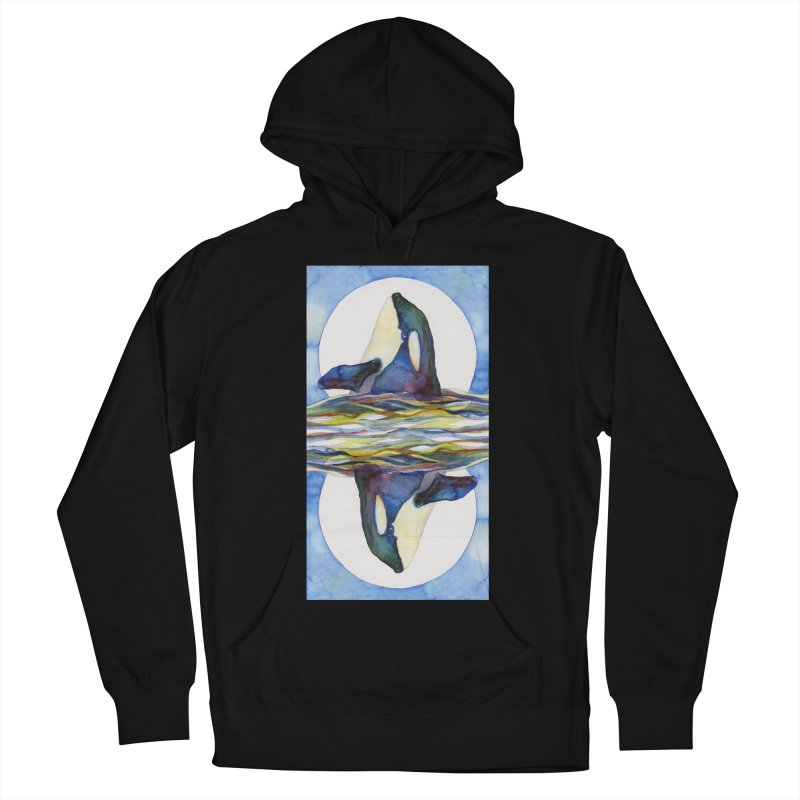 Orca in the Waves Seeing Double Men's French Terry Pullover Hoody by dotsofpaint threads