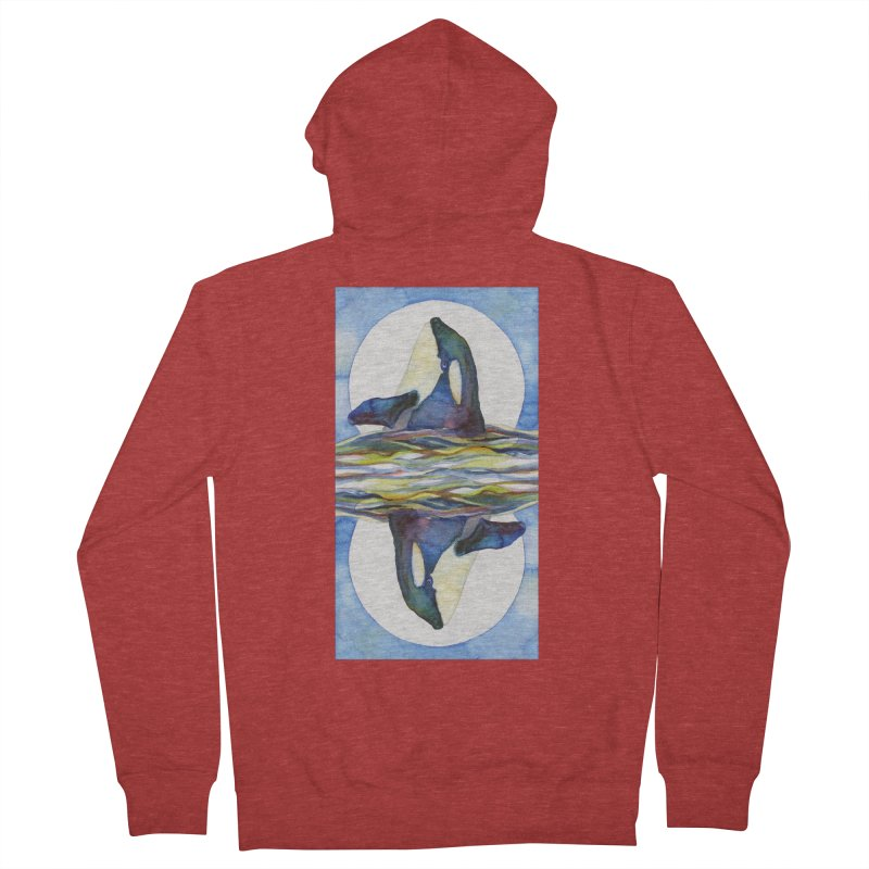 Orca in the Waves Seeing Double Men's French Terry Zip-Up Hoody by dotsofpaint threads