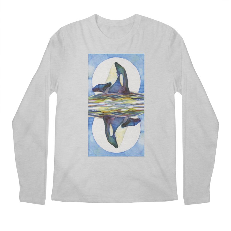 Orca in the Waves Seeing Double Men's Regular Longsleeve T-Shirt by dotsofpaint threads