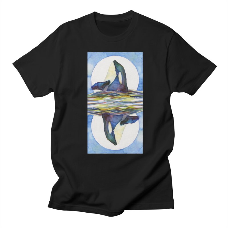 Orca in the Waves Seeing Double Men's Regular T-Shirt by dotsofpaint threads