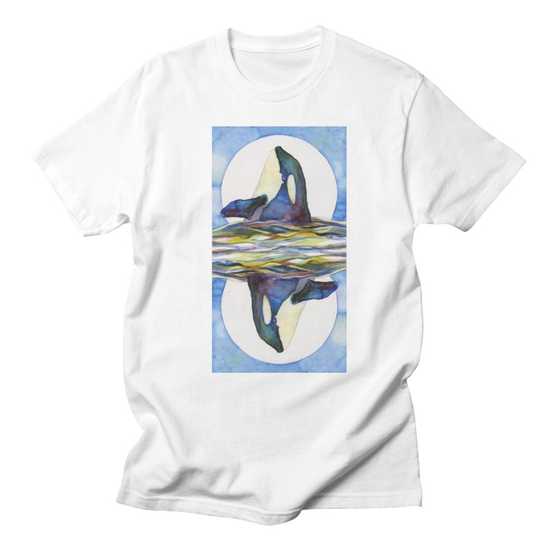 Orca in the Waves Seeing Double Men's T-Shirt by dotsofpaint threads