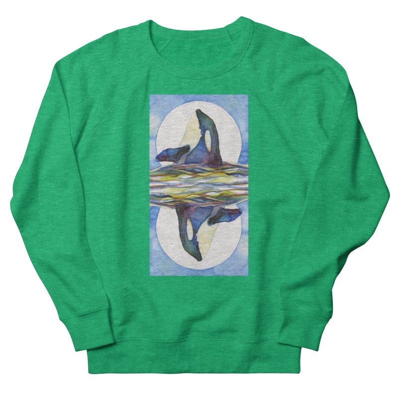 Orca in the Waves Seeing Double Men's Sweatshirt by dotsofpaint threads