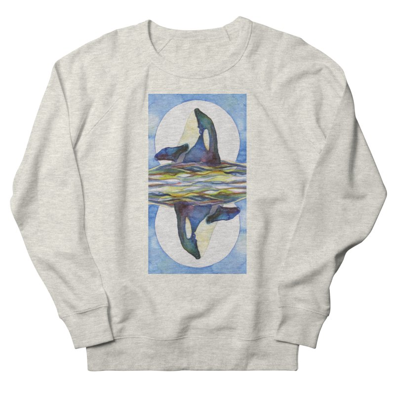 Orca in the Waves Seeing Double Men's French Terry Sweatshirt by dotsofpaint threads