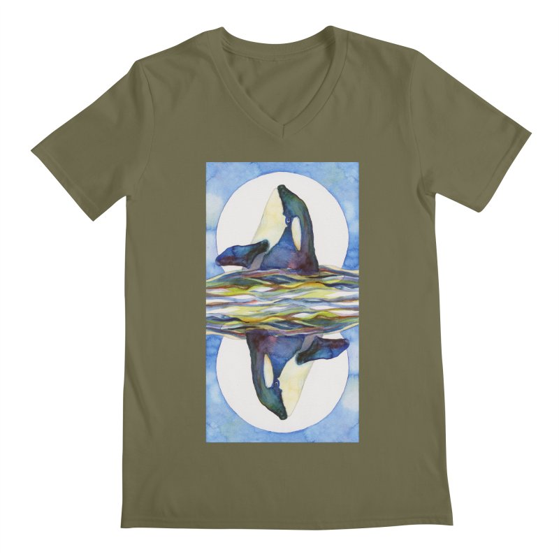 Orca in the Waves Seeing Double Men's V-Neck by dotsofpaint threads