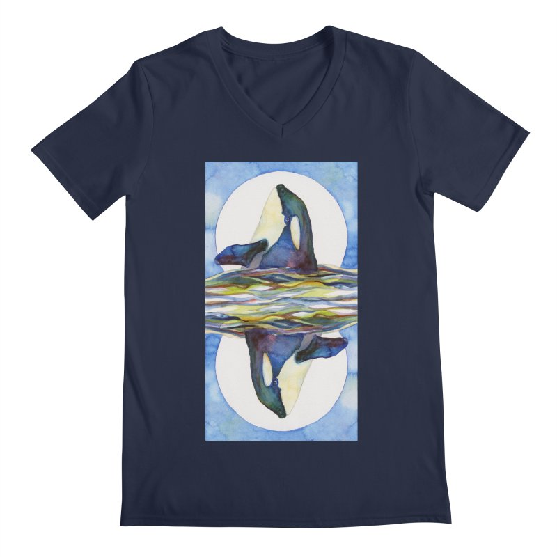 Orca in the Waves Seeing Double Men's Regular V-Neck by dotsofpaint threads