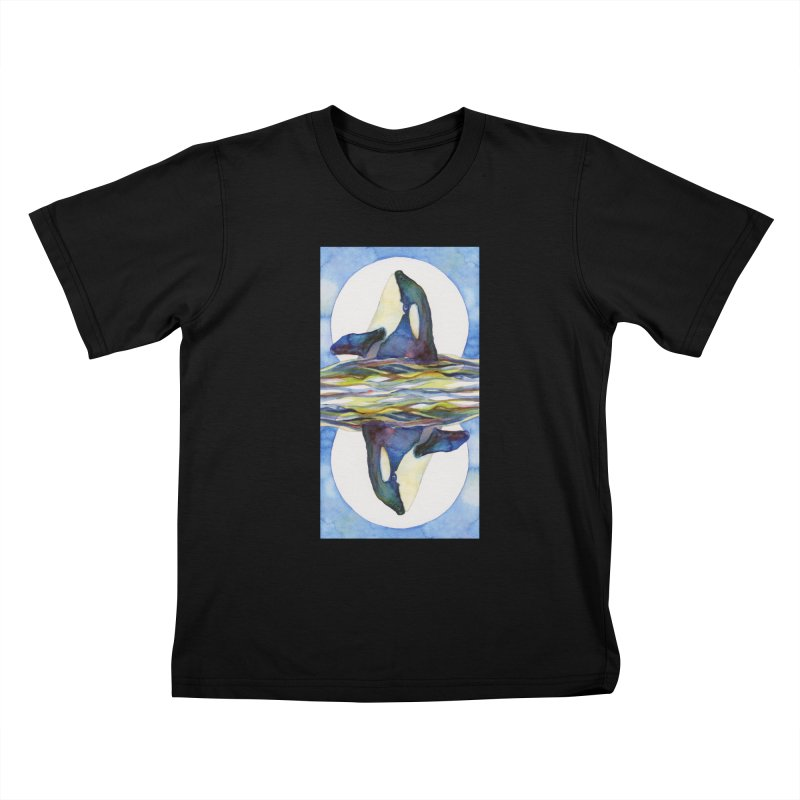 Orca in the Waves Seeing Double Kids T-Shirt by dotsofpaint threads