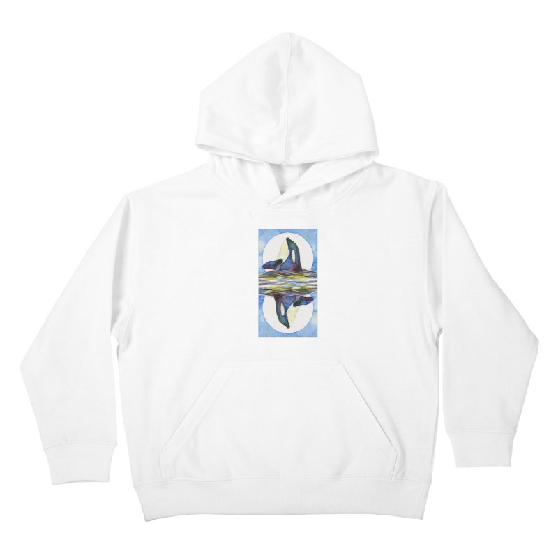 Orca in the Waves Seeing Double Kids Pullover Hoody by dotsofpaint threads