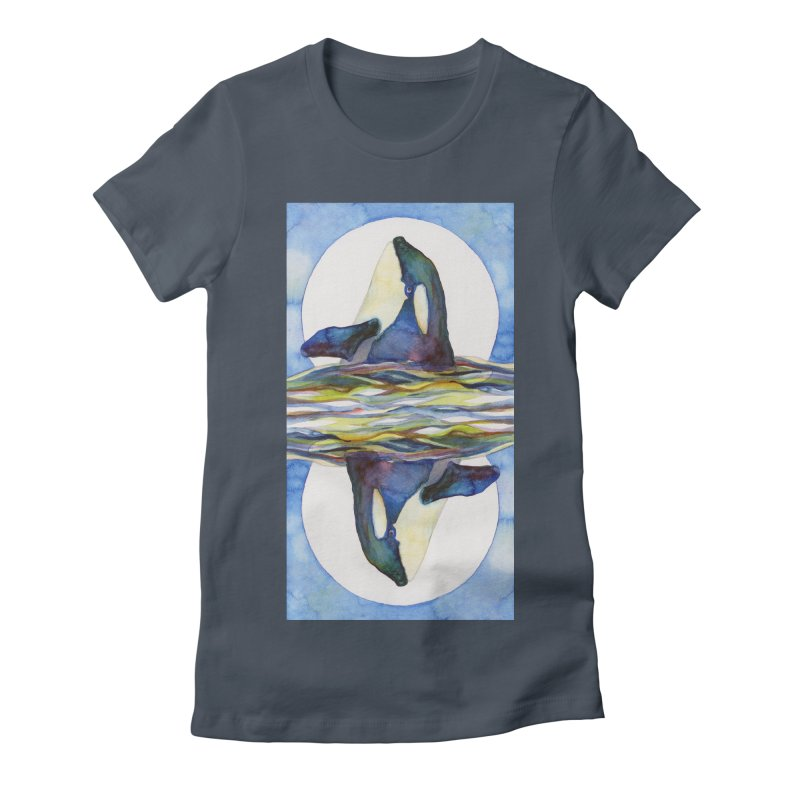 Orca in the Waves Seeing Double Women's T-Shirt by dotsofpaint threads